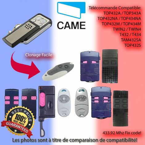 compatible avec TOP432NA, TOP434NA CAME 433.92MHz Fixed Code emetteur manuel