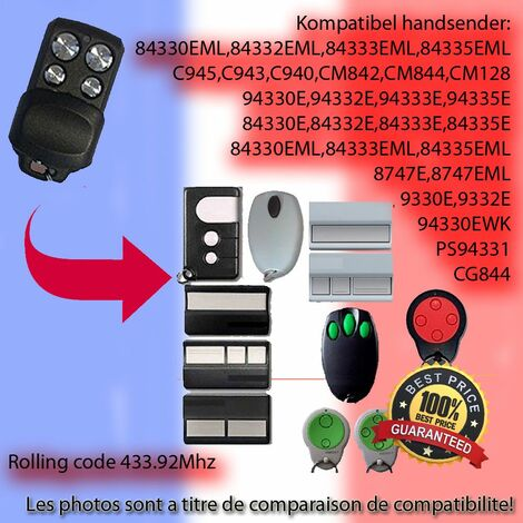 compatible emetteur Replacement la telecommande 433,92MHz Rolling Code 84333EML, 84335EML Motorlift