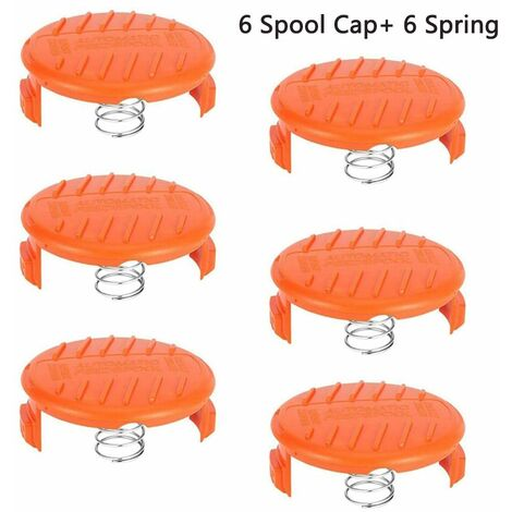 Compatible Replacing the Black & Decker AF-100 Lawn mower Spare Spool Cap Covers with spring for Trimmer Spool Tool ABS Material Strong and durable (6+6)
