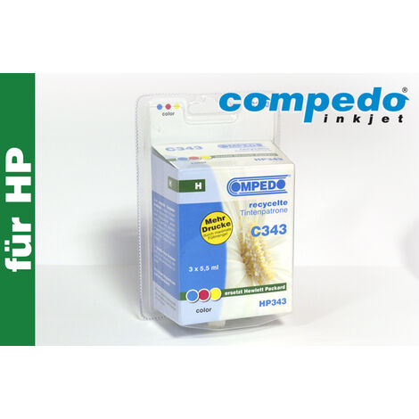 Compedo Cartouche d'imprimante recyclée C343 HP343 cyan magenta jaune