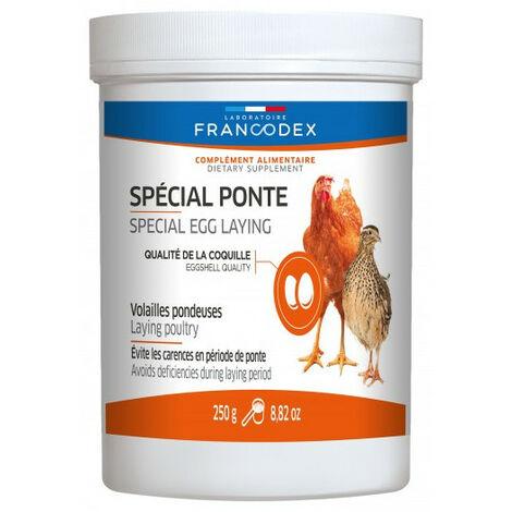 complément alimentaire spécial ponte, pot de 250G pour volaille.