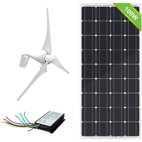 Complete 500W/H 12V hybrid solar wind home system 400W Generator 100W Mono Panel