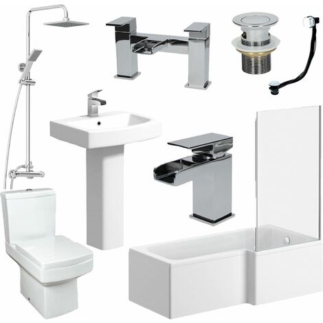 Complete Bathroom Suite 1500 L Shape Bath RH Screen Basin Toilet Taps Shower