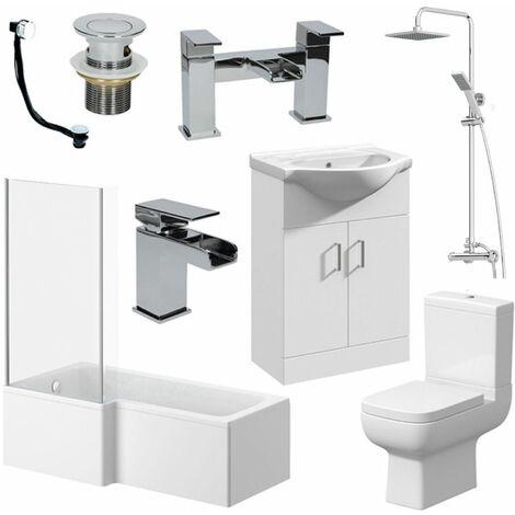 Complete Bathroom Suite 1500 L Shape LH Bath Screen WC Basin Vanity Unit Shower