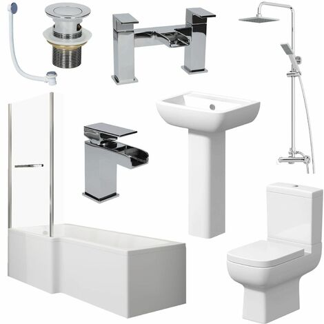 Complete Bathroom Suite 1500mm L Shape LH Bath Screen Toilet Basin Taps Shower