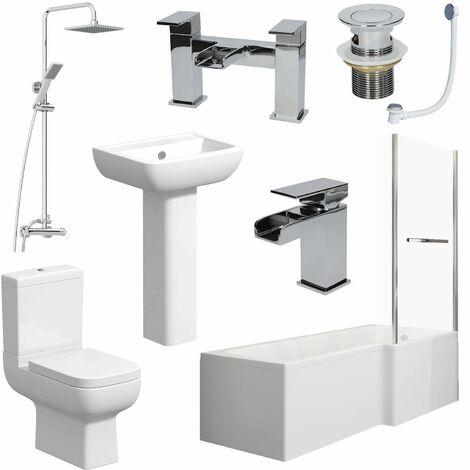 Complete Bathroom Suite 1500mm L Shape RH Bath Screen Toilet Basin Taps Shower