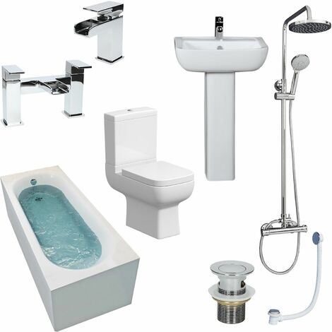 Complete Bathroom Suite 1500mm Straight Bath Toilet Basin Shower
