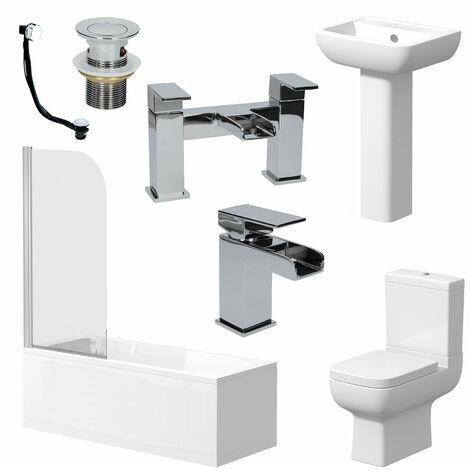 Complete Bathroom Suite 1500mm Straight Bath Toilet Basin Taps