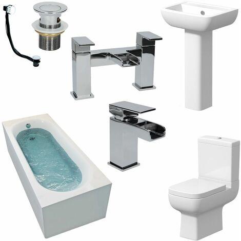 Complete Bathroom Suite 1600 Bath Single Ended Toilet Basin Taps