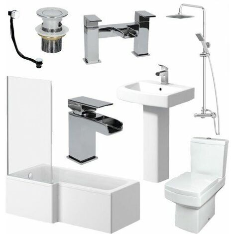Complete Bathroom Suite 1600 L Shape Bath LH Screen Basin Toilet Taps Shower