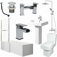 Complete Bathroom Suite 1600 L Shape Bath LH Screen & Rail Basin WC Taps Shower