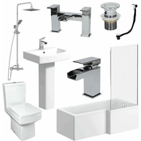 Complete Bathroom Suite 1600 L Shape Bath RH Screen Basin Toilet Taps Shower