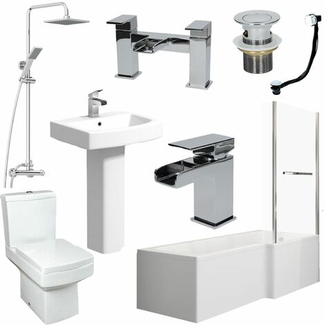 Complete Bathroom Suite 1600 L Shape Bath RH Screen & Rail Basin WC Taps Shower