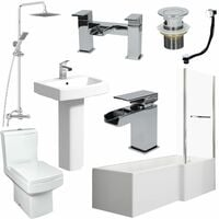 Complete Bathroom Suite 1600 L Shape Bath RH Screen & Rail Basin WC Taps Shower