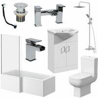 Complete Bathroom Suite 1600 L Shape LH Bath Screen WC Basin Vanity Unit Shower