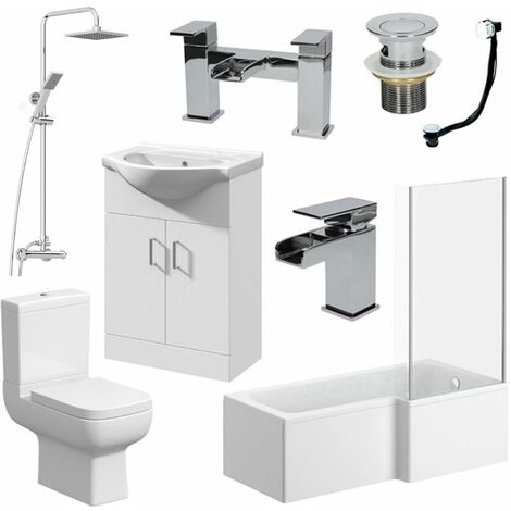Complete Bathroom Suite 1600 L Shape RH Bath Screen WC Basin Vanity Unit Shower