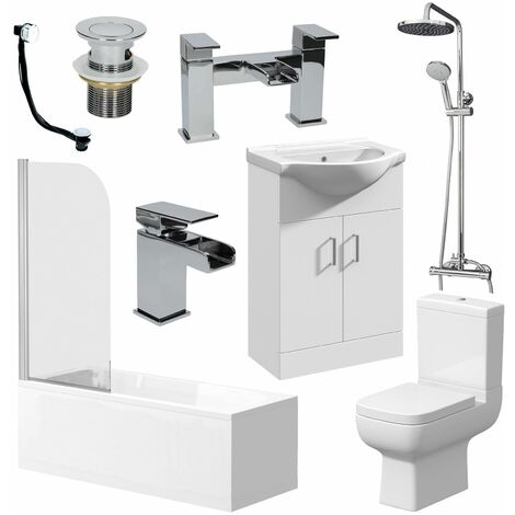 Complete Bathroom Suite 1600mm Bath Toilet Basin Shower Tap