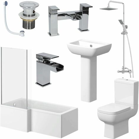 Complete Bathroom Suite 1600mm L Shape LH Bath Screen Toilet Basin Taps Shower