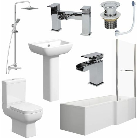 Complete Bathroom Suite 1600mm L Shape RH Bath Screen Toilet Basin Taps Shower
