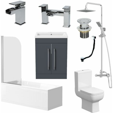 Complete Bathroom Suite 1700 Bath Screen WC Toilet Vanity Basin Taps Shower Grey