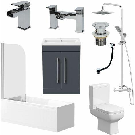 "main image of ""Complete Bathroom Suite 1700 Bath Screen WC Toilet Vanity Basin Taps Shower Grey"""