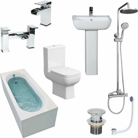 Complete Bathroom Suite 1700 Straight Bath Toilet Basin Shower