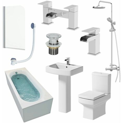 Complete Bathroom Suite 1700mm Shower Bath Toilet Basin Pedestal Taps Screen