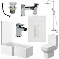 Complete Bathroom Suite L Shaped Bath LH Toilet Vanity Shower