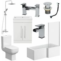 Complete Bathroom Suite L Shaped Bath RH Toilet Vanity Shower