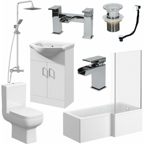 Complete Bathroom Suite L Shaped Bath RH Toilet Vanity Unit Taps
