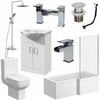 Complete Bathroom Suite L Shaped Bath RH Toilet Vanity Unit Taps