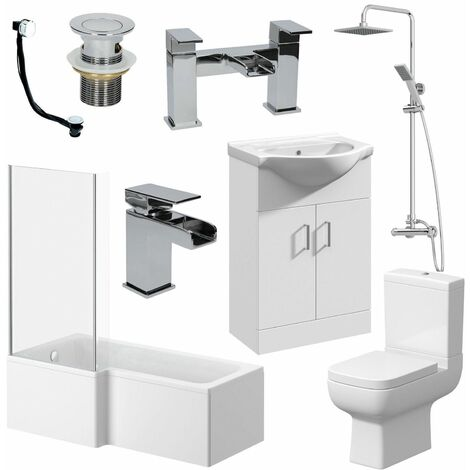 Complete Bathroom Suite L Shaped Bath Toilet Vanity Unit Shower