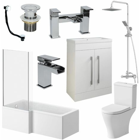 Complete Bathroom Suite L Shaped LH Bath Basin 600mm Vanity Unit WC Shower Taps