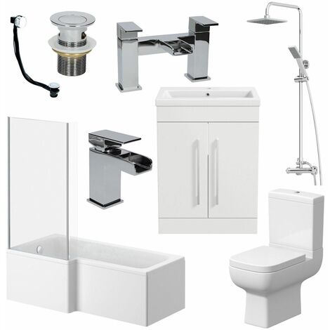 Complete Bathroom Suite L Shaped LH Bath Toilet Basin Taps Vanity Unit Shower