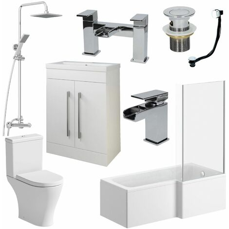Complete Bathroom Suite L Shaped RH Bath Basin 600mm Vanity Unit WC Shower Taps