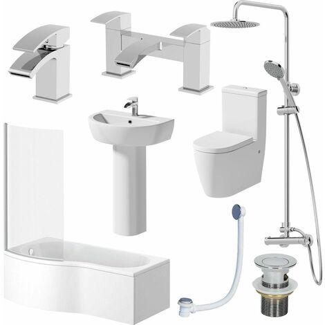 Complete Bathroom Suite LH 1700 Shower Bath Toilet Basin Pedestal Shower Tap Set