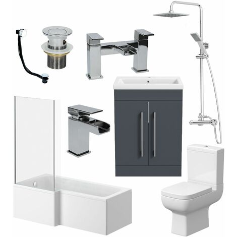 Complete Bathroom Suite LH L Shaped Bath Toilet Vanity Basin Taps Shower Grey