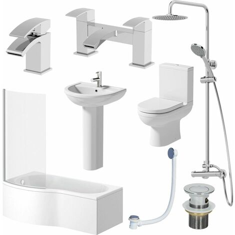 Complete Bathroom Suite LH Shower Bath 1700 Toilet Basin Pedestal Shower Tap Set