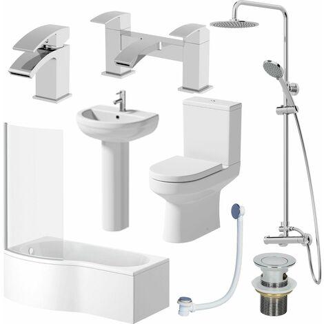 Complete Bathroom Suite LH Shower Bath Screen Toilet Basin Pedestal Shower Taps
