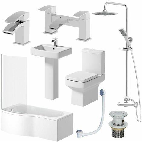 Complete Bathroom Suite LH Shower Bath Toilet Basin Pedestal Shower Taps Square