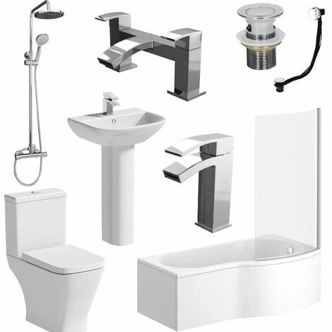 Complete Bathroom Suite P Shape RH Bath Panel Screen Basin WC Shower Taps Set
