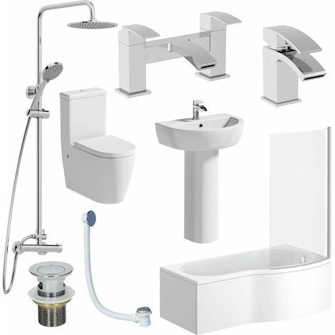 Complete Bathroom Suite RH 1700 Shower Bath Toilet Basin Pedestal Shower Tap Set