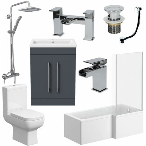 Complete Bathroom Suite RH L Shaped Bath Toilet Vanity Basin Taps Shower Grey