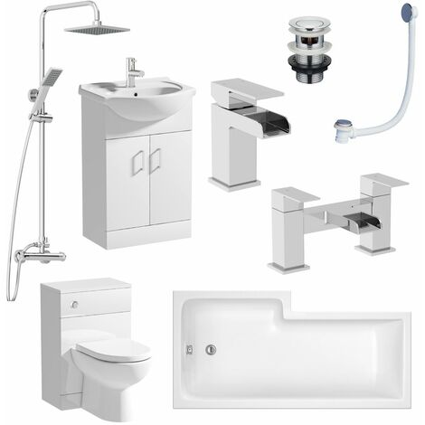 Complete Bathroom Suite RH L Shaped Bath Vanity Unit BTW Toilet Tap Basin Set