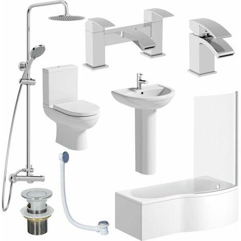 Complete Bathroom Suite RH Shower Bath 1700 Toilet Basin Pedestal Shower Tap Set