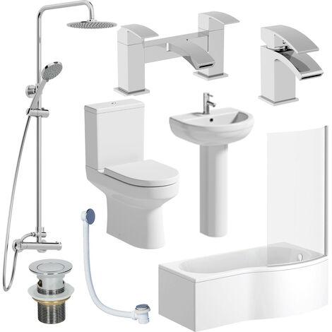 Complete Bathroom Suite RH Shower Bath Screen Toilet Basin Pedestal Shower Taps
