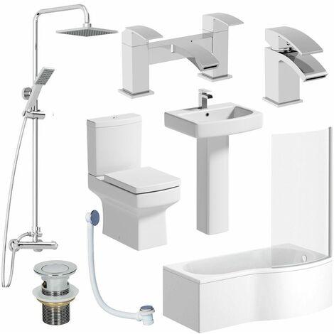 Complete Bathroom Suite RH Shower Bath Toilet Basin Pedestal Shower Taps Square