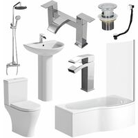 Complete P Shaped RH Bathroom Suite Toilet Basin Screen Shower