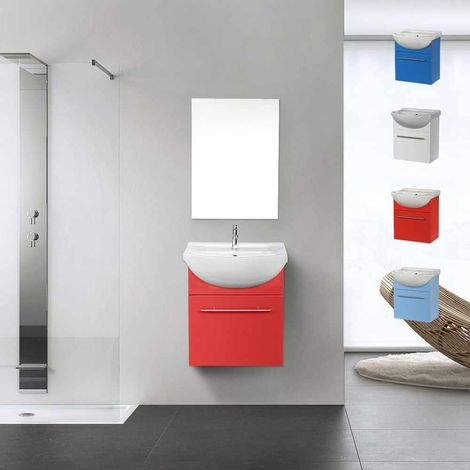 Complete Set of Bathroom Furniture: Mirror Cabinet and Sink in Lacquered Ceramic and Stainless Steel