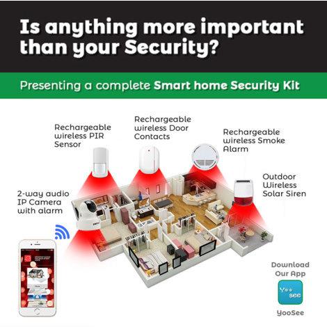 Complete Smart Home Security Kit (Indoor IP Camera, Wireless PIR Sensor, Wireless Door Sensor, 1 Key FOB for turning on/off alarm, Outdoor IP Camera, Outdoor Solar Siren